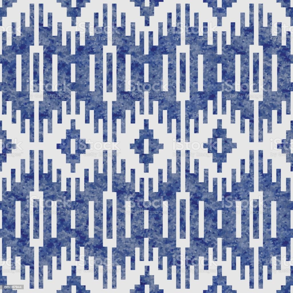 Vector geometrical abstract seamless Ikat pattern from decorative ethnic ornament. Blue indigo  tribal elements on a white background. Watercolor painting texture. Batik, wallpaper, wrapping, page fill, textile print vector art illustration