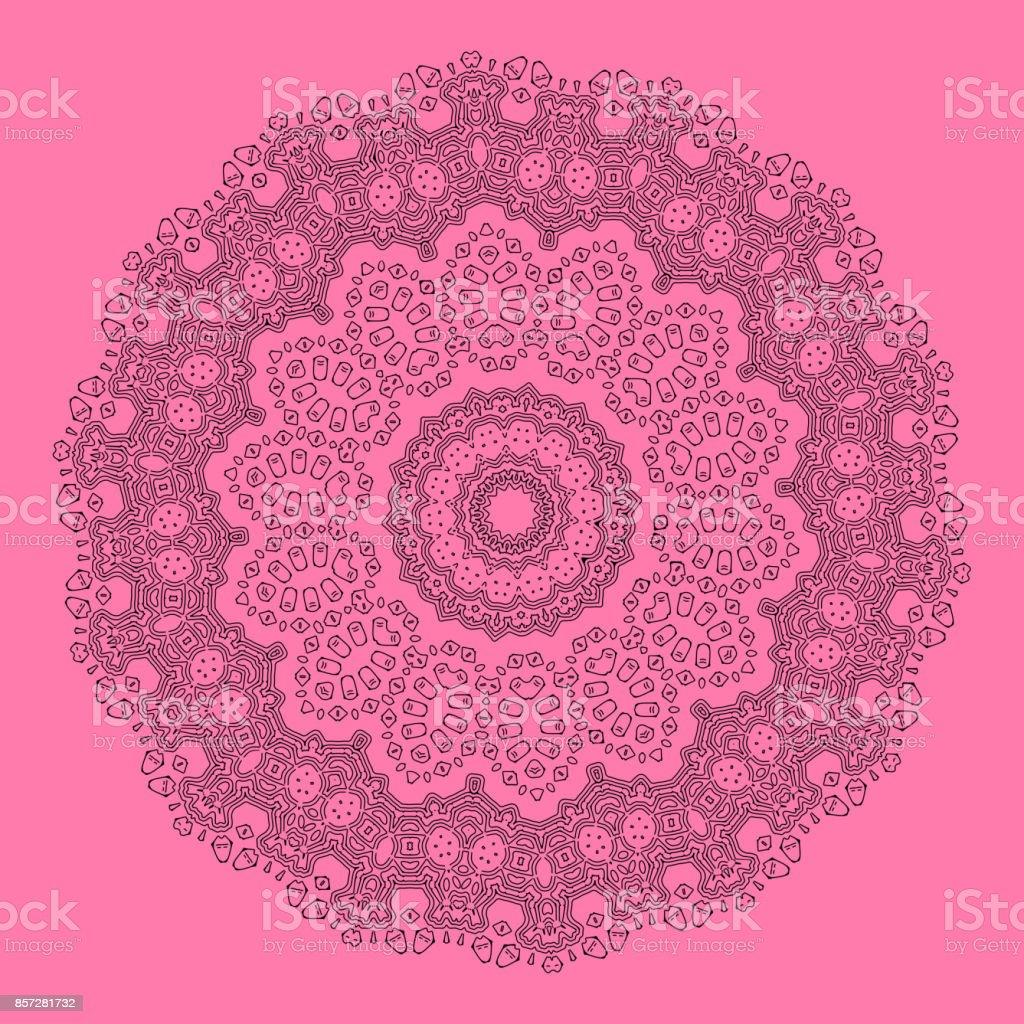 Vector Geometrische En Bloem Ronde Mandala Oosterse Patroon