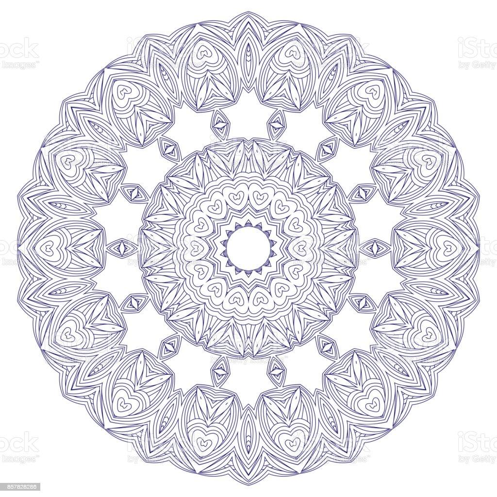 Vektör Geometrik Ve çiçek Mandala Yuvarlak Oryantal Desen Vektör