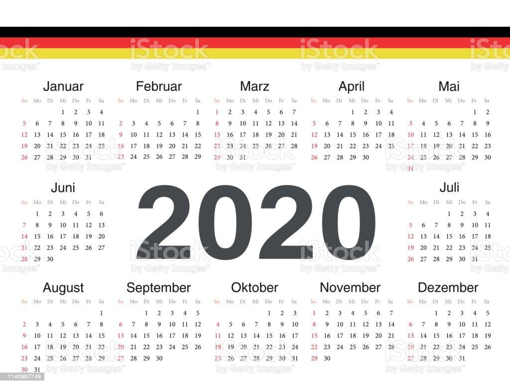 Calendrier Allemand 2020.Vecteur Cercle Allemand Calendrier 2020 Vecteurs Libres De