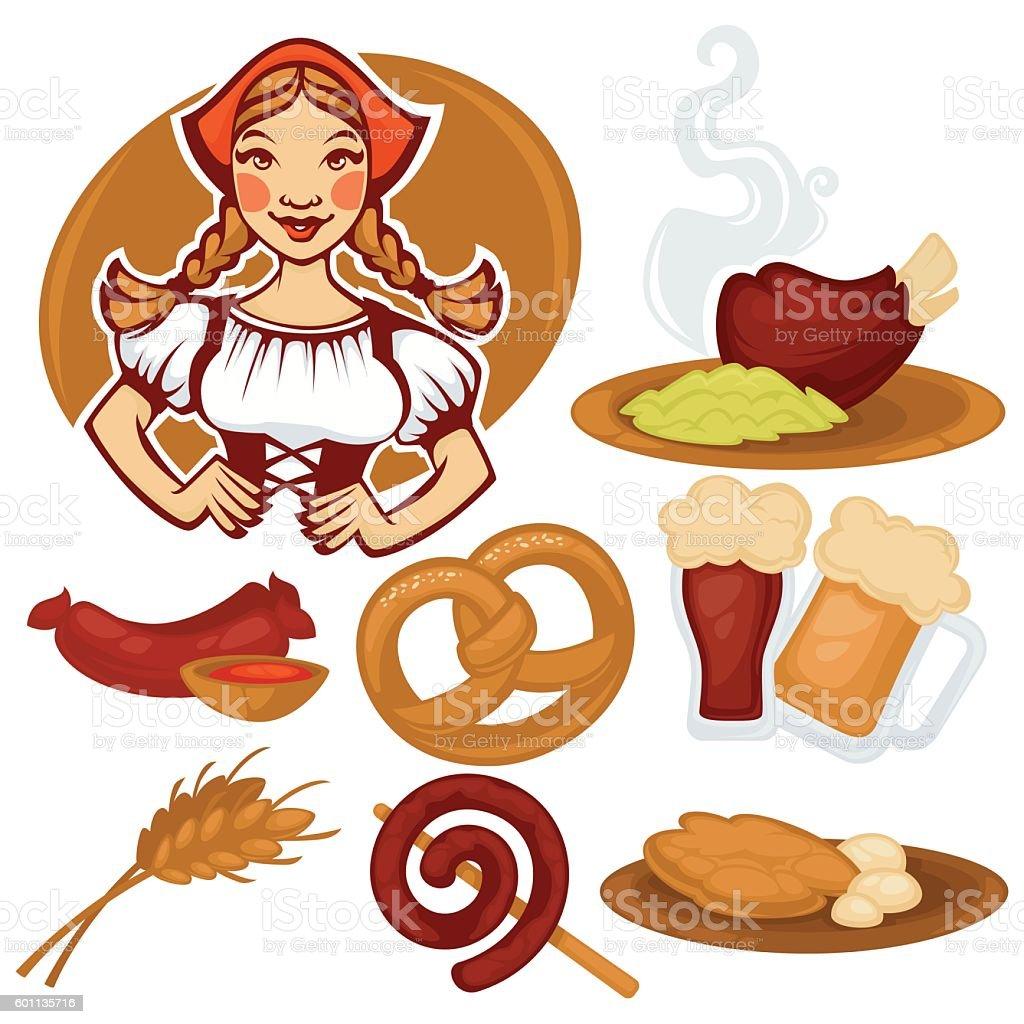 vector German girl and collection of traditional  food – Vektorgrafik