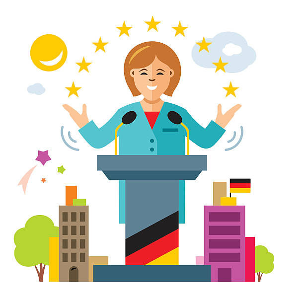 vector german policy. woman politician. flat style colorful cartoon illustration. - kanzlerin stock-grafiken, -clipart, -cartoons und -symbole