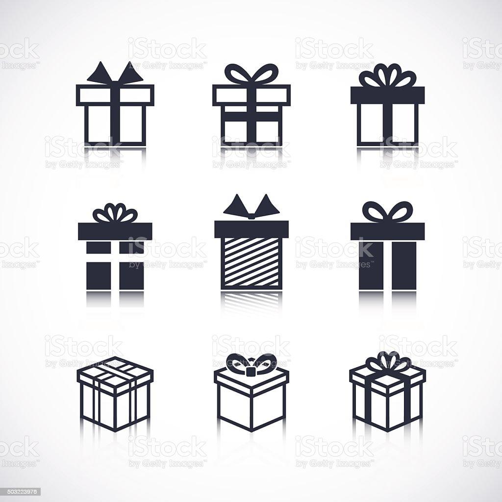 Vector Gift box black icons vector art illustration