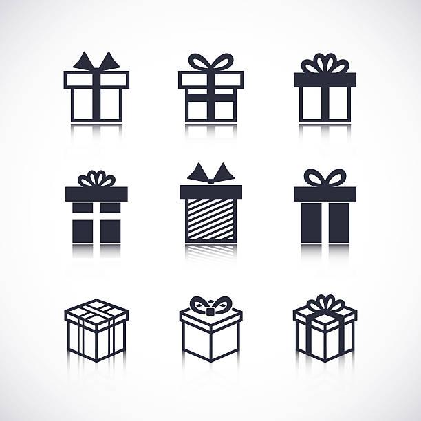 Royalty Free Black Gift Box Clip Art Vector Images Illustrations