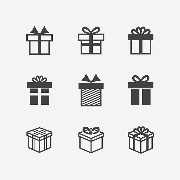 Vector Gift box black icons Vector Gift box black icons isolated on a white background anniversary silhouettes stock illustrations