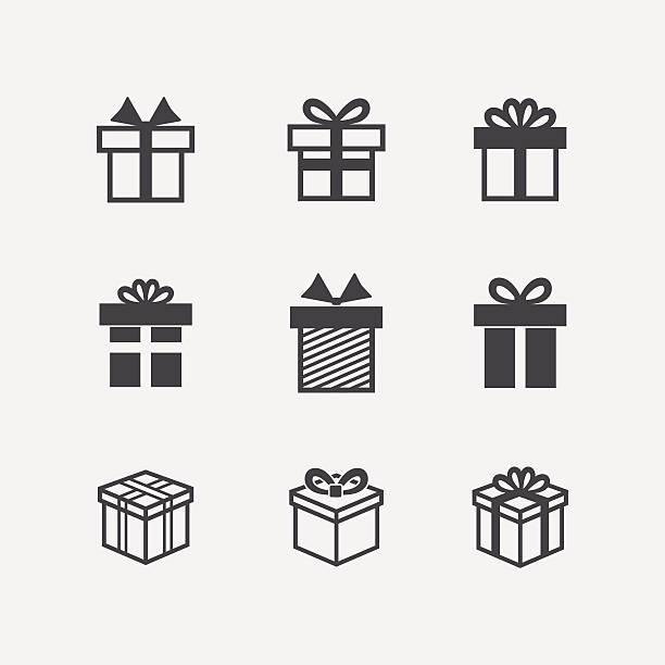 vektor geschenk box schwarz symbole - ferien  und feiertagssymbole stock-grafiken, -clipart, -cartoons und -symbole
