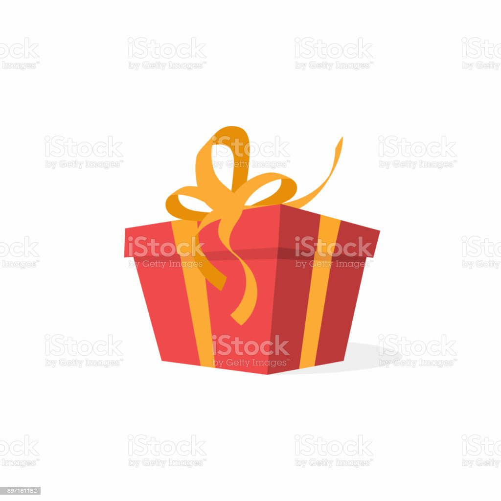 Vector gift box with bow and ribbons. Red gift box, present concept