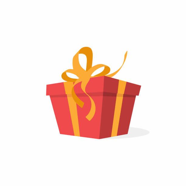 wektorowe pudełko z kokardką i wstążkami. czerwone pudełko na prezent, obecna koncepcja - gift stock illustrations
