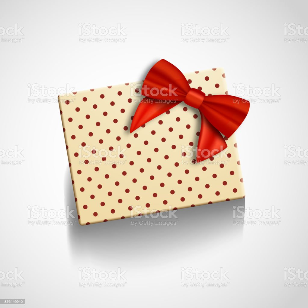 Vector Gift Box With Red Ribbon Isolated Realistic Vector Present In