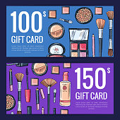 Vector gift card vouchers for beauty products with hand drawn makeup products isolated on dark background. Illustration of gift card and coupon makeup