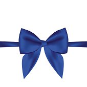 Vector gift card with blue ribbon, background