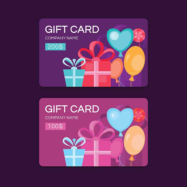 illustrazioni stock, clip art, cartoni animati e icone di tendenza di vector gift cards. - coupon