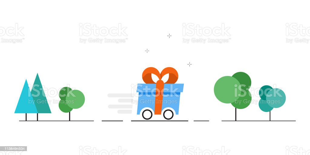 Vector gift delivery image. Fast delivery of gifts. Vector...