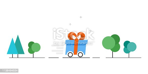 istock Vector gift delivery image. Fast delivery of gifts. Vector illustration 1138494534