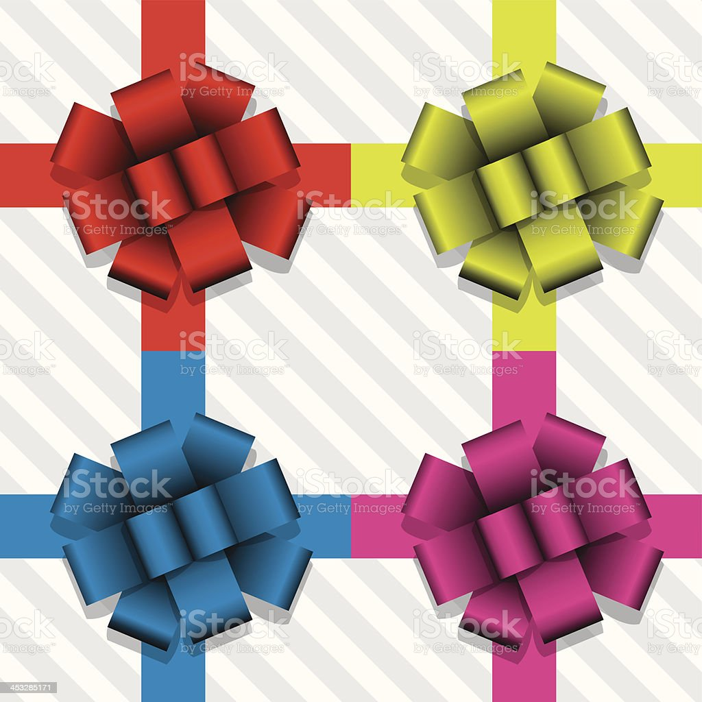 vector  gift ribbons with bows vector art illustration