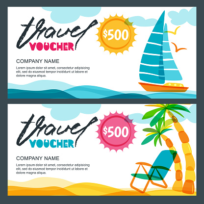Vector Gift Travel Voucher Template Concept For Summer Vacation And Travel Agency Tropical Island Yacht And Palms Stock Illustration - Download Image Now