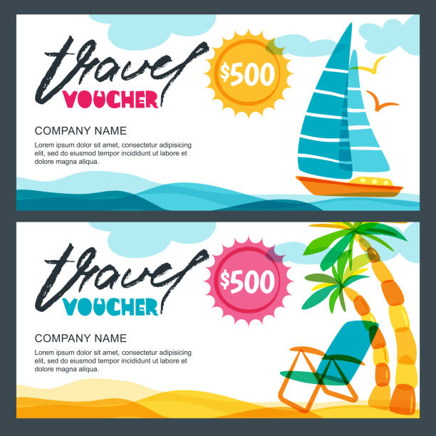 Vector gift travel voucher template. Concept for summer vacation and travel agency. Tropical island, yacht and palms. vector art illustration