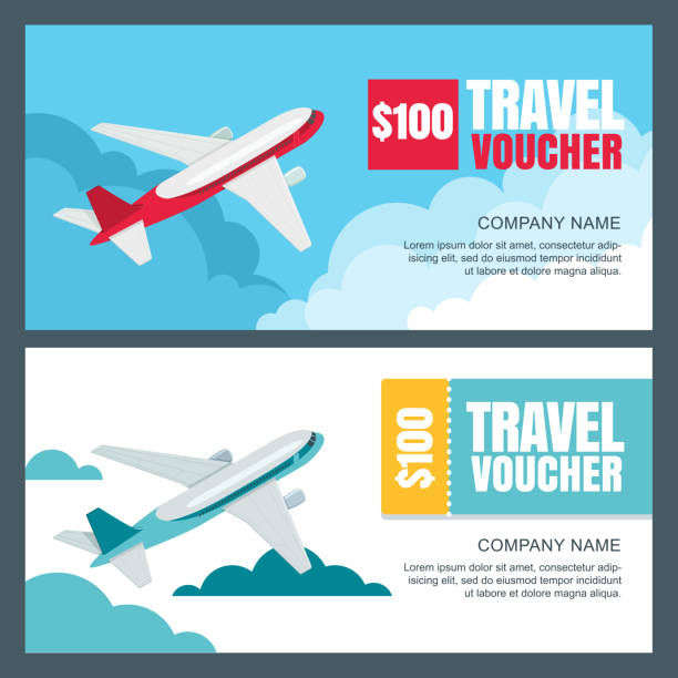 Vector gift travel voucher template. Flying airplane in the sky. Banner, coupon, certificate, flyer, ticket layout. vector art illustration