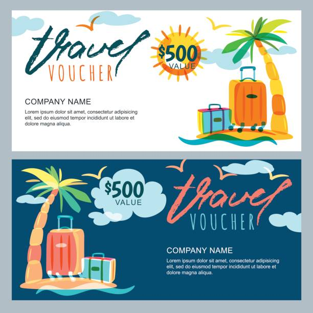 Vector gift travel voucher template. Tropical island landscape with palm tree and luggage suitcase. vector art illustration
