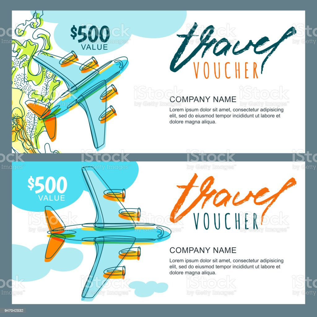 Vector Gift Travel Voucher Top View Hand Drawn Flying Airplane