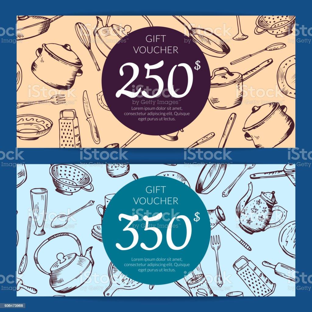Vector Gift Voucher Or Discount Card Kitchen Stock Vector Art & More ...