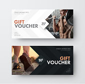 Vector gift voucher template with an arrow, a diamond and a place for the image. Universal white and black flyer template for advertising a gym or business. Blurred photo for an example.