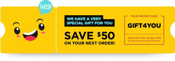 Vector Gift Voucher with Coupon Code. Fast Food Restaurant Certificate Template with Cute Funny Asian Character. Japanese Kawaii Design with Happy Face Emoji. Discount Offer Graphic with Promo Code. Vector Gift Voucher with Coupon Code. Fast Food Restaurant Certificate Template with Cute Funny Asian Character. Japanese Kawaii Design with Happy Face Emoji. Discount Offer Graphic with Promo Code. coupon stock illustrations