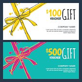 Vector gift vouchers with bow ribbons, white and blue backgrounds