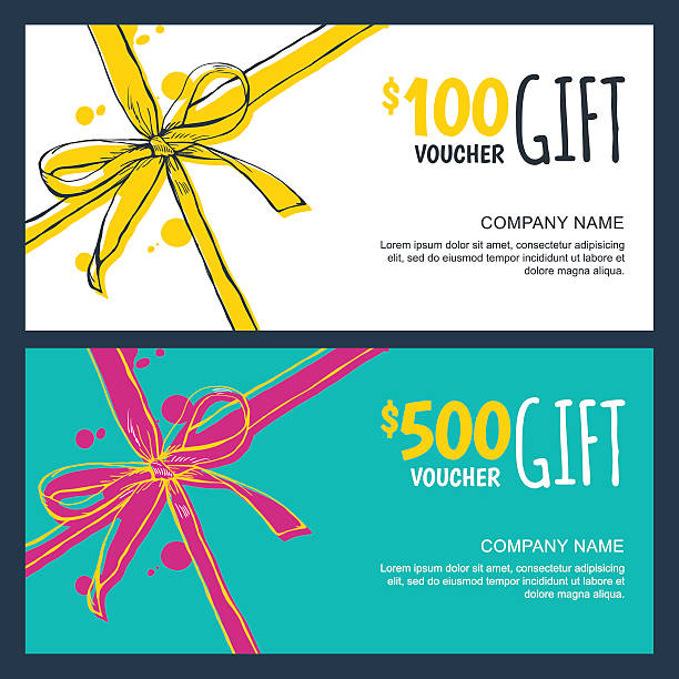 Vector gift vouchers with bow ribbons, white and blue backgrounds vector art illustration