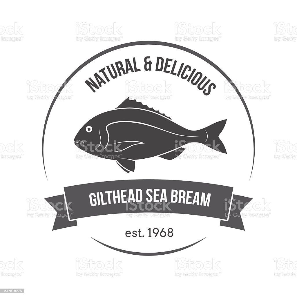 Vector gilthead sea bream, sparus aurata, dorado emblem, label. - ilustración de arte vectorial