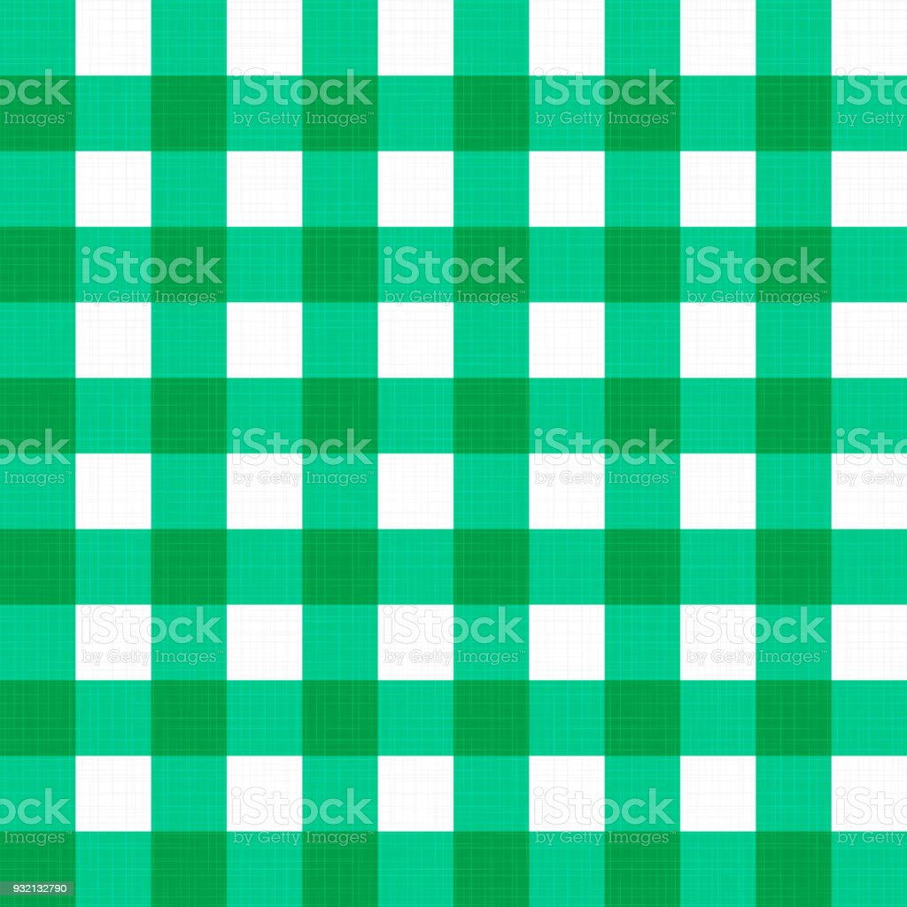 Bon Vector Gingham Striped Checkered Blanket Tablecloth. Seamless White Green  Table Cloth Napkin Pattern Background With