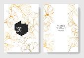Vector. Golden ginkgo leaf. Wedding white background card floral decorative border. Thank you, rsvp, invitation elegant card illustration graphic set banner.