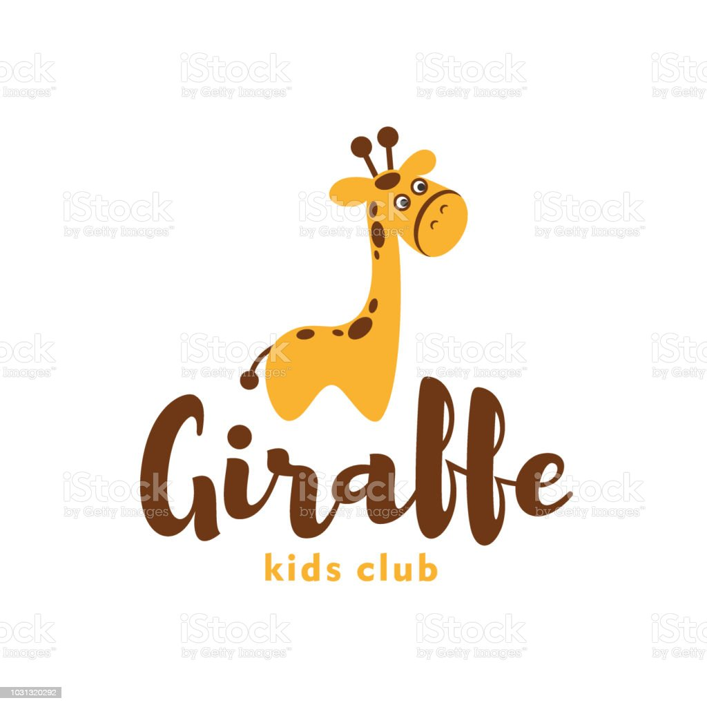 Vector giraffe icon template. Baby animal. Zoo, park, reserve, pet shop, kids cosmetic, kid toys store. vector art illustration