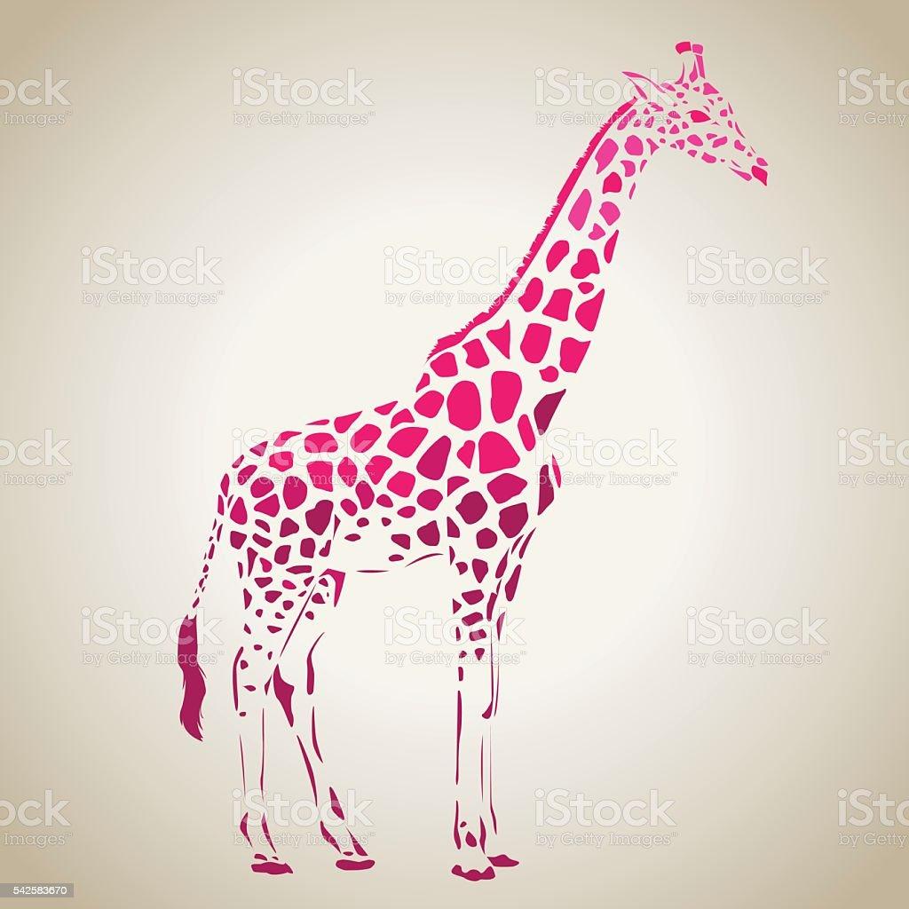 Vector giraffe silhouette, abstract animal illustration. Safari giraffe