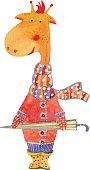 Watercolor illustration of giraffe with  umbrella, vector