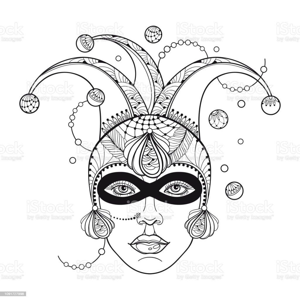 Anahat Palyaco Veya Harlequin Kap Maske Tavus Kusu Tuyu Ve Boncuk
