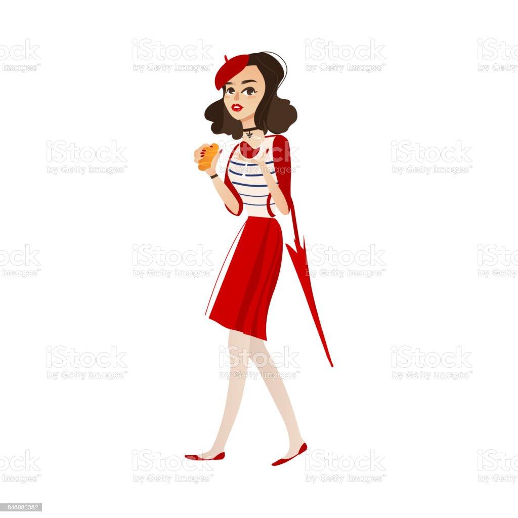 fille de vecteur en béret avec verre de vin, croissant - Illustration vectorielle