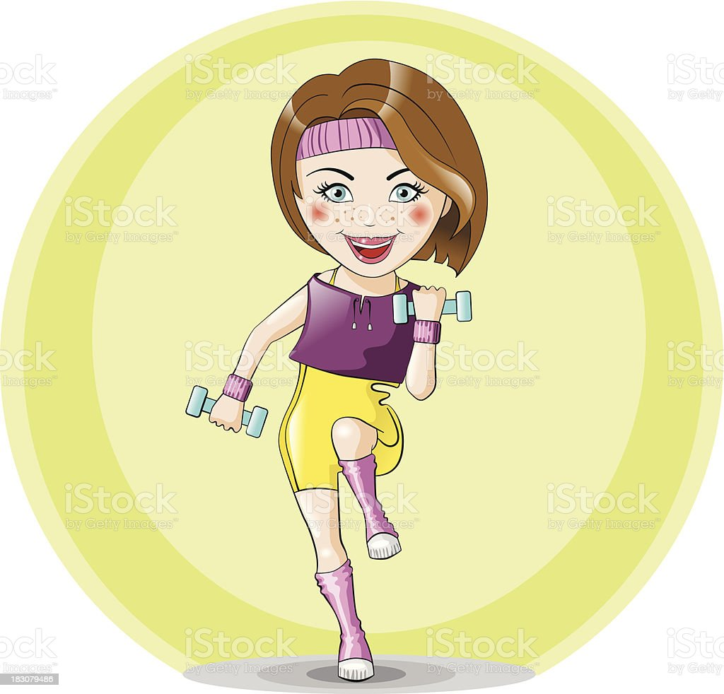 Vector girl running with ankle weights royalty-free stock vector art