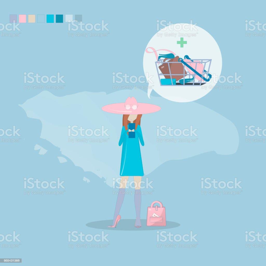 Vector girl shopping through internet. - Grafika wektorowa royalty-free (Biznes)