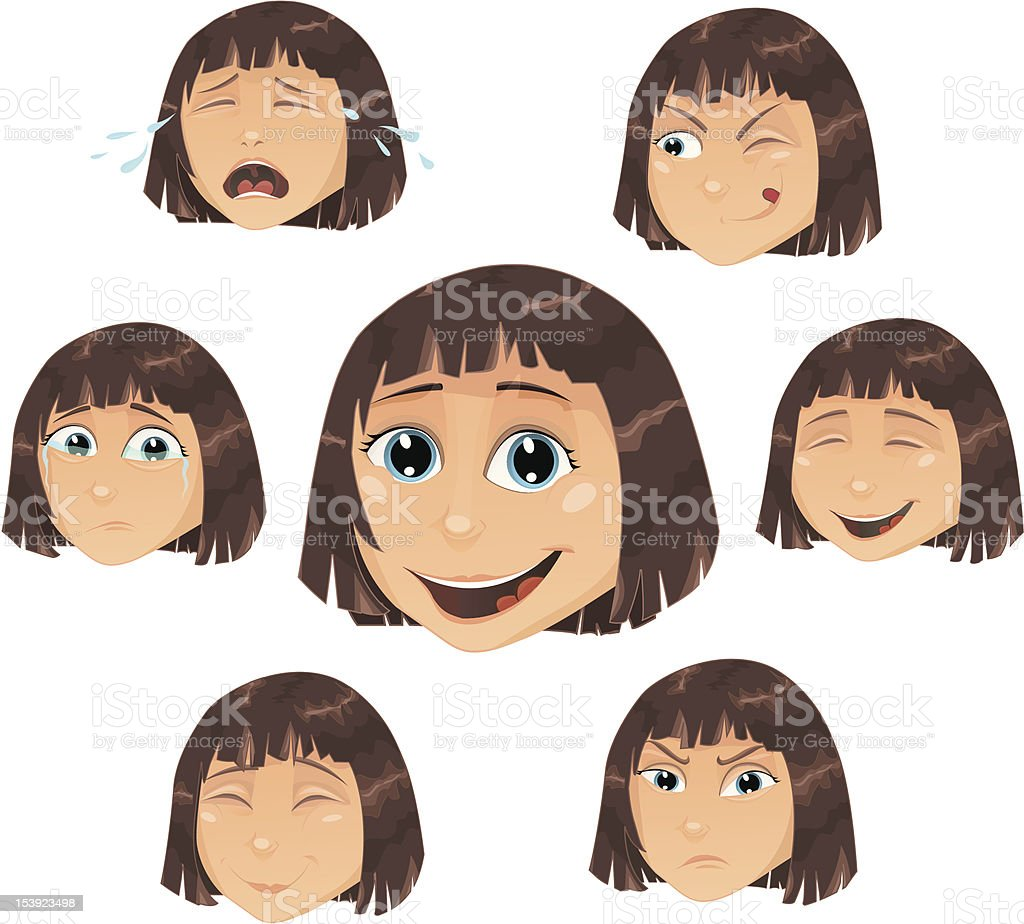 Vector girl with head expressions royalty-free vector girl with head expressions stock vector art & more images of adolescence