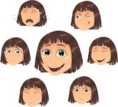 Vector girl with head expressions