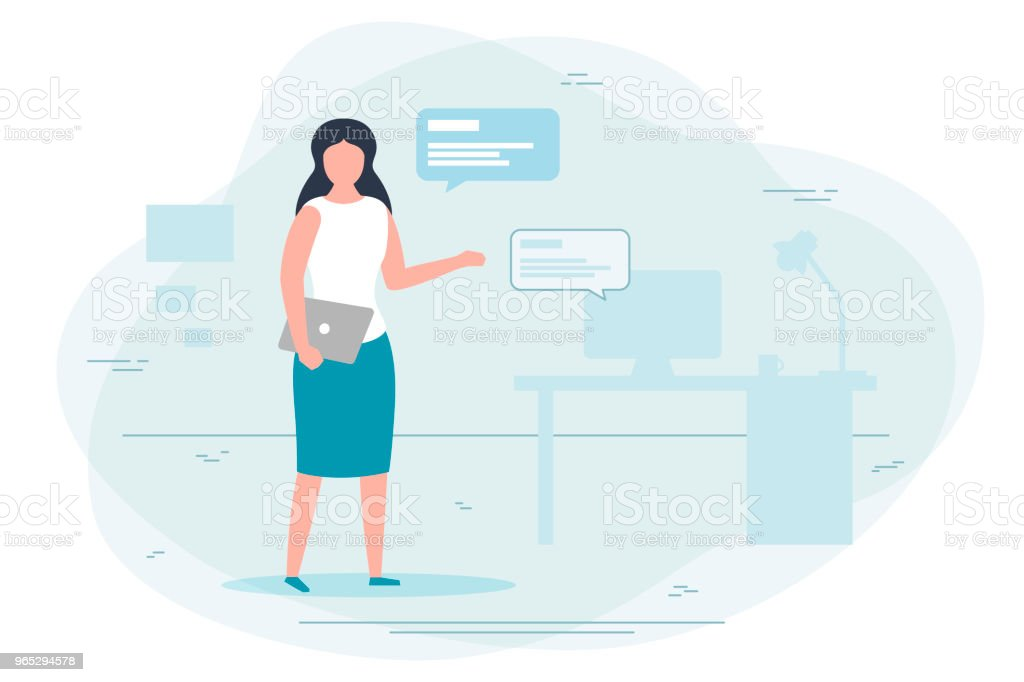 Vector - girl working at home, chat concept royalty-free vector girl working at home chat concept stock vector art & more images of adult