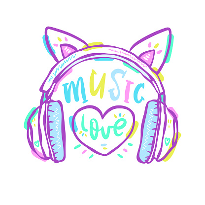 Vector girly headphones and heart. Cute print design for textiles, t-shirts, poster. Typography design, text music, love.