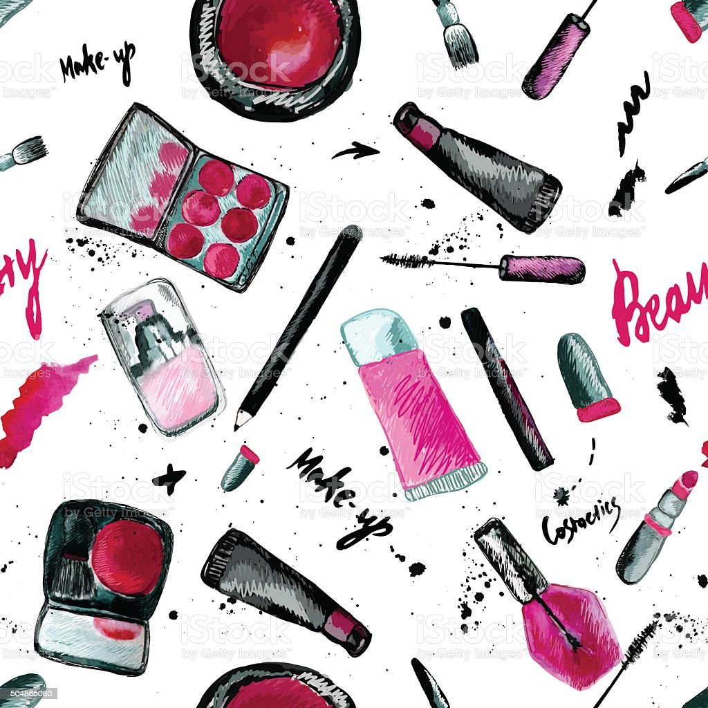 Vector glamorous make up seamless pattern