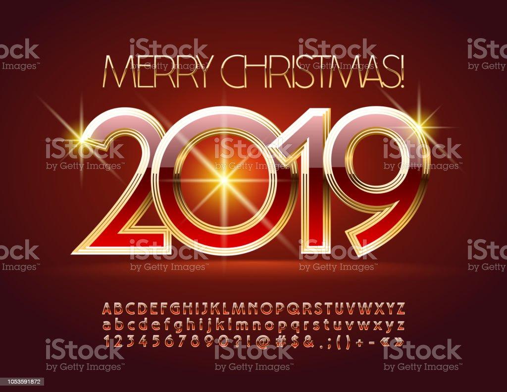 Imagenes Felicitacion Navidad 2019.Ilustracion De Vector Glamour Tarjeta De Felicitacion Feliz