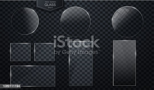 Vector glass banners on transparent background Plastic badges