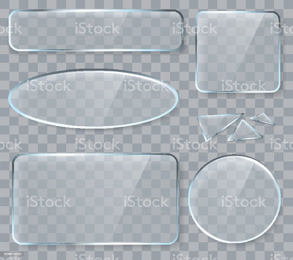 Vector glass design elements for game and web vector art illustration