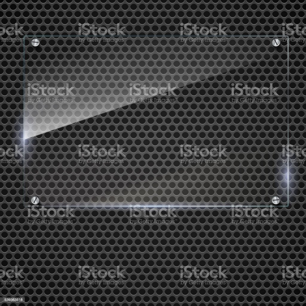 Vector glass frame with rivets vector art illustration