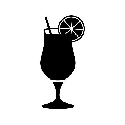 Vector glass of juice silhouette icons