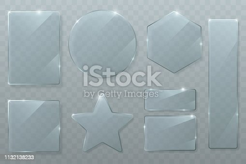 Vector glass plates set isolated on transparent background. Glossy texture of clear glass with bright highlights. Circle, square, rhombus, rectangle and star. Transparent banners. Eps 10.